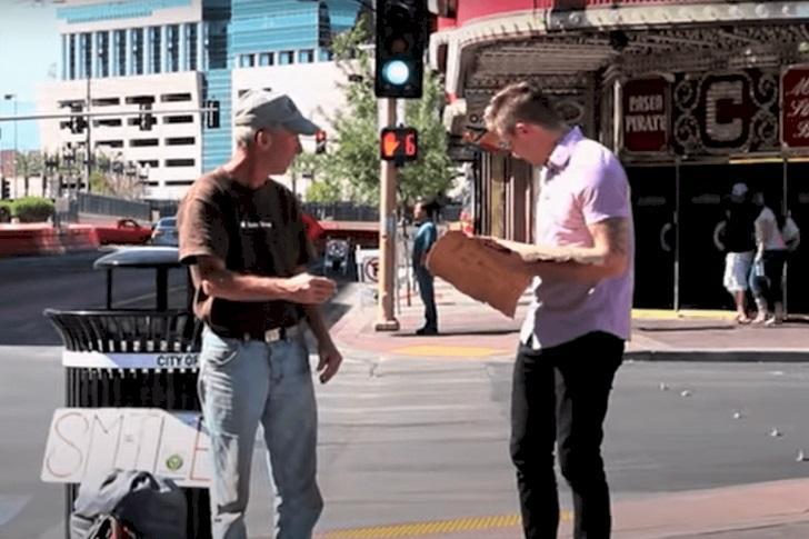 Magician Rips Homeless Veteran's Sign. For A Good Reason