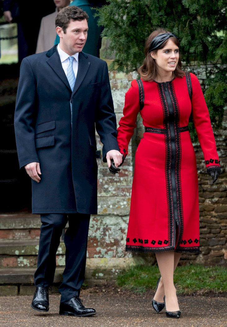 Princess Eugenie and Jack Brooksbank attend Christmas Day Church service at Church of St Mary Magdalene on the Sandringham estate on December 25, 2018 in King's Lynn, England. (Photo by UK Press Pool/UK Press via Getty Images)