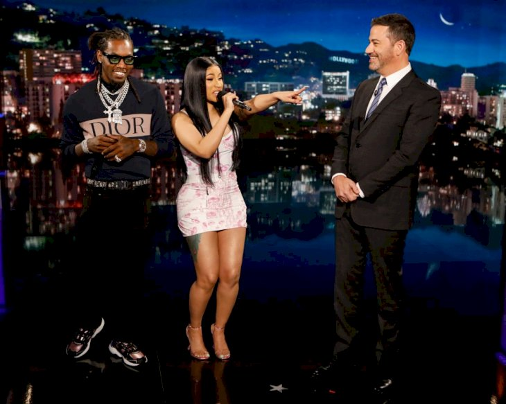 Image Credit: Getty Images / Cardi B and her former husband, Offset are photographed on the Jimmy Fallon show.