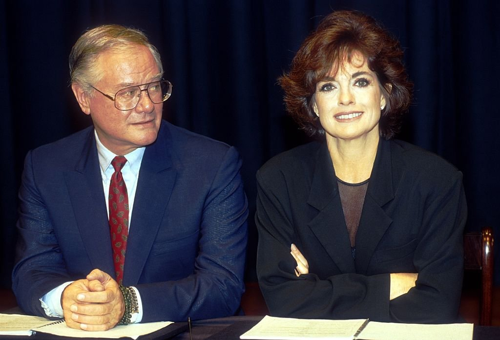 Image Credit: Getty Images / American actors Linda Gray and Larry Hagman, performers of the TV series Dallas during an interview.