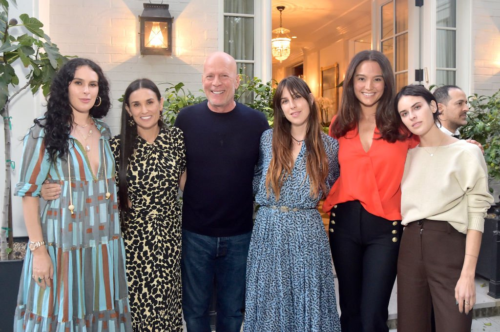 Image Credits: Getty Images / Stefanie Keenan | (L-R) Rumer Willis, Demi Moore, Bruce Willis, Scout Willis, Emma Heming Willis and Tallulah Willis attend Demi Moore's 'Inside Out' Book Party on September 23, 2019 in Los Angeles, California.