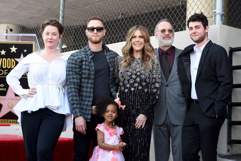 Chet Hanks, his daughter Michaiah Hanks, Rita Wilson, Tom Hanks and Truman Hanks attend the ceremony honoring Rita Wilson with Star on the Hollywood Walk of Fame,2019 in Hollywood/Photo: GettyImages