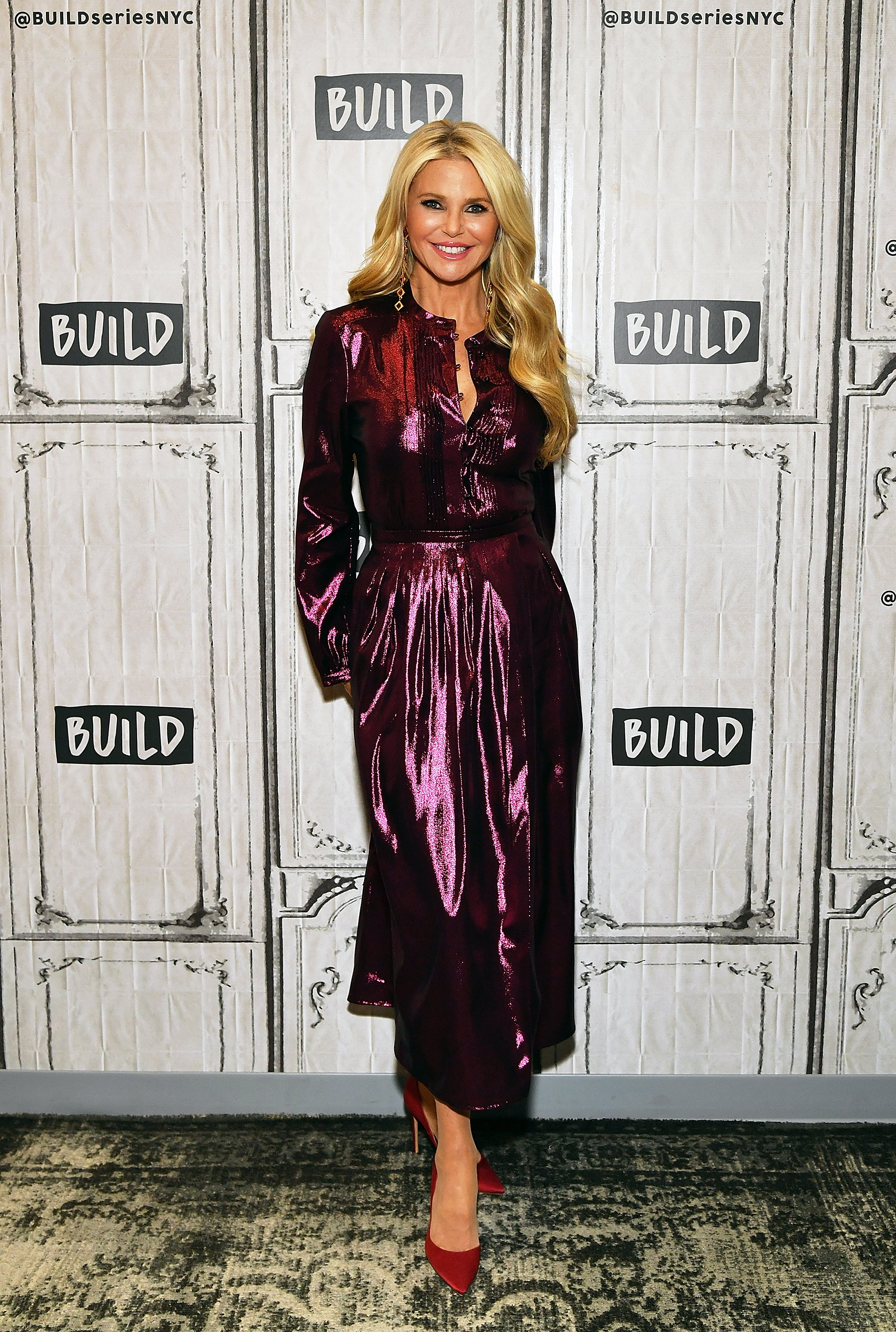 "Image Credits: Getty Images / Slaven Vlasic | Model/actress Christie Brinkley visits Build Series to discuss ""Milestones of Me"" campaign to encourage women to celebrate life's milestones at Build Studio on January 29, 2019 in New York City."