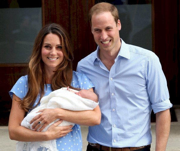 Image Credit: Getty Images / Kate Middleton with her husband, Prince William, and their newborn son, Prince George.