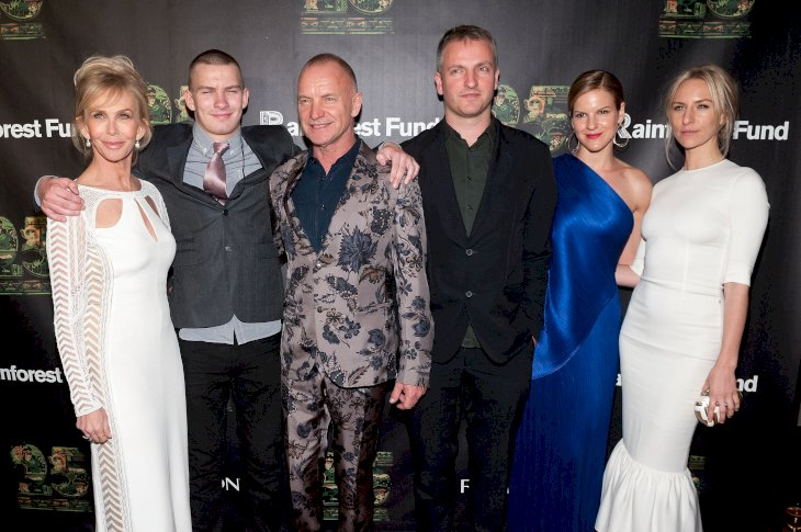 Image Credit: Getty Images/D Dipasupil | Sting and his family at the 25th Anniversary Concert for the Rainforest Fund on April 17, 2014