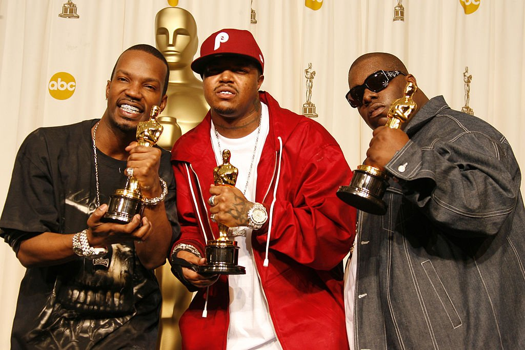 Image Credits: Getty Images | Three 6 Mafia posing with their Oscars