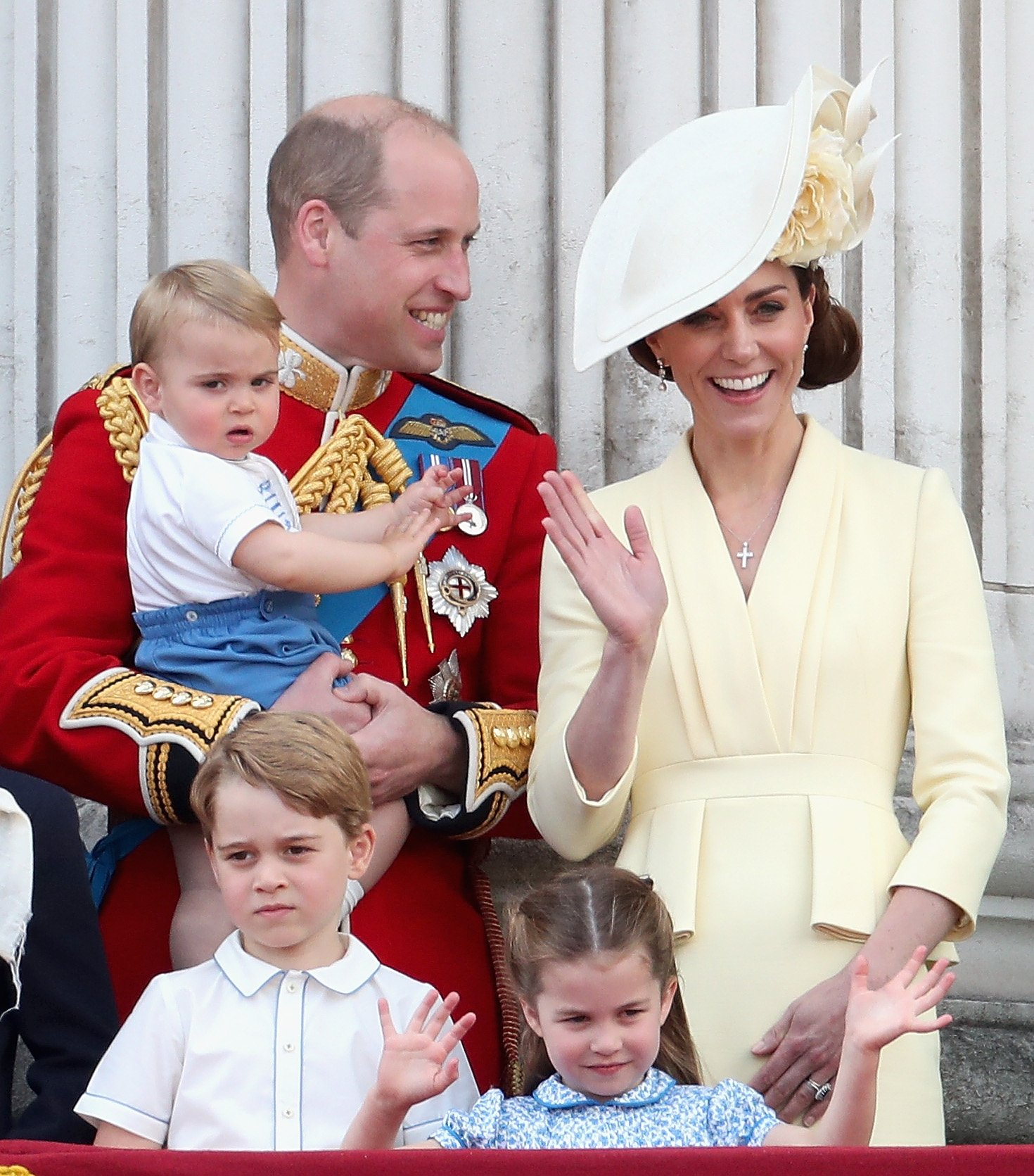 Image Credits: Getty Images / Chris Jackson   Prince William, Duke of Cambridge, Catherine, Duchess of Cambridge, Prince Louis of Cambridge, Prince George of Cambridge and Princess Charlotte of Cambridge during Trooping The Colour, the Queen's annual birthday parade, on June 8, 2019 in London, England.