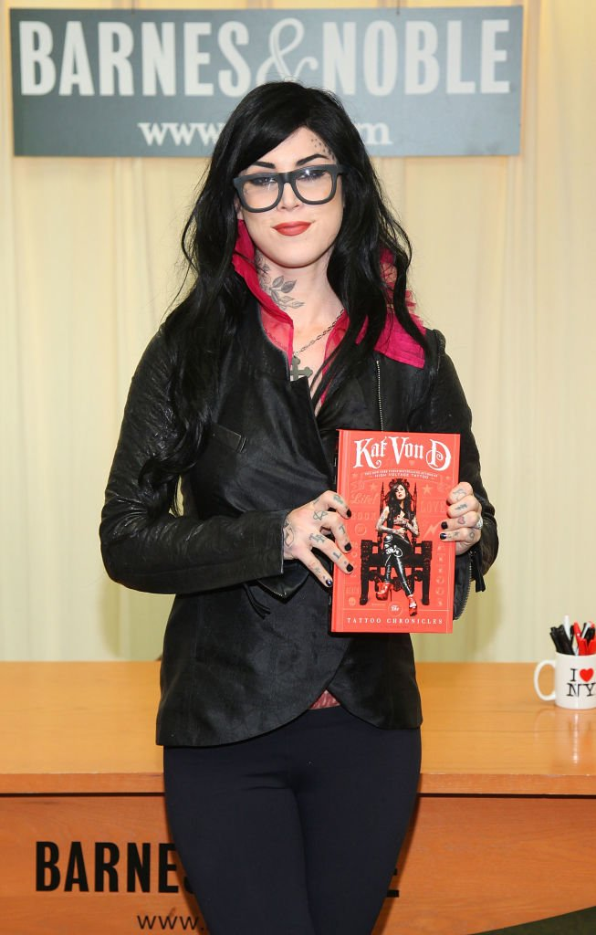 "Image Credits: Getty Images / Mike Coppola / FilmMagic | Television personality/tatoo artist Kat Von D promotes her new book ""The Tattoo Chronicles"" at Barnes & Noble, 5th Avenue on October 26, 2010 in New York City."