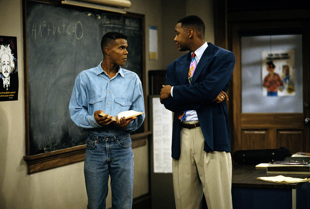 "Image Credits: Getty Images / Walt Disney Television | Mark Curry (as Mr. Cooper) stars in the T.V series ""Hanging with Mr. Cooper."" A single High School teacher and basketball coach living in Oakland, California. Christopher Carter guest-stars as Andre."