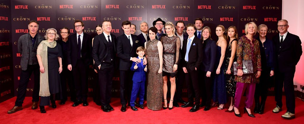 Image Credits: Getty Images / Ian West / PA Images | Cast and crew attending the season two premiere of The Crown at the Odeon, Leicester Square, London.