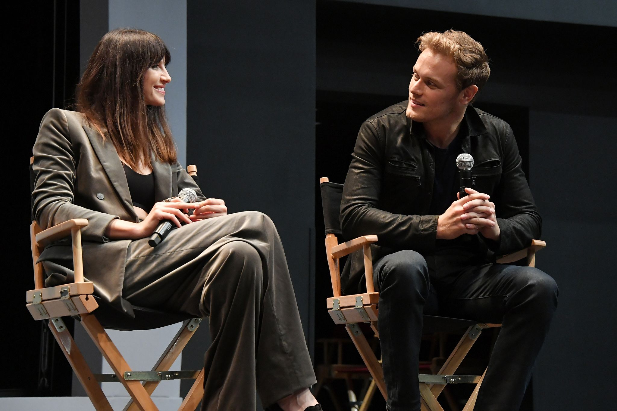 Caitriona Balfe and Sam Heughan participate in a panel discussion after the New York Red Carpet Premiere of Outlander Season Three / Getty Images