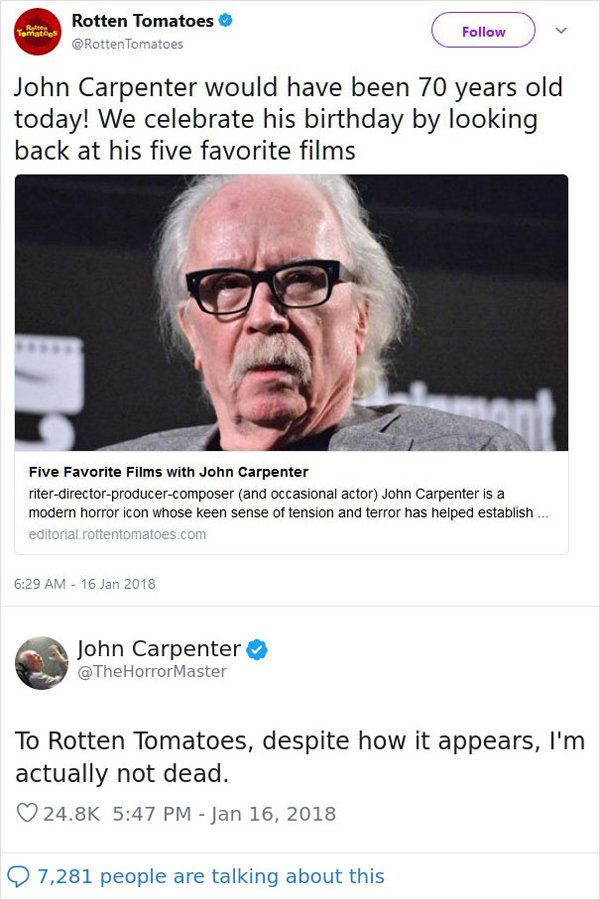 Image credits: Twitter/RottenTomatoes - Twitter/TheHorrorMaster