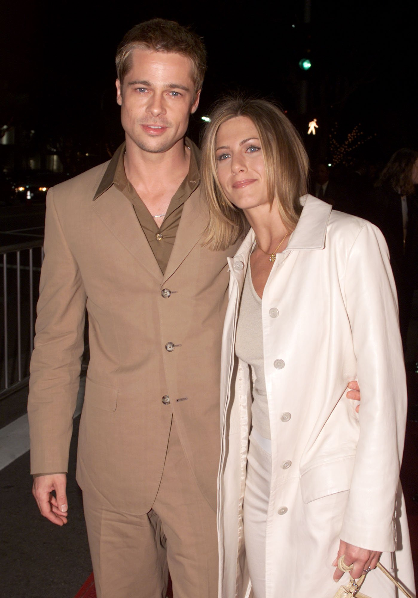 Image Credits: Getty Images / Kevin Winter | Brad Pitt and Jennifer Aniston at the premiere of 'The Mexican' at the National Theater in Los Angeles, Ca. 2/23/01.