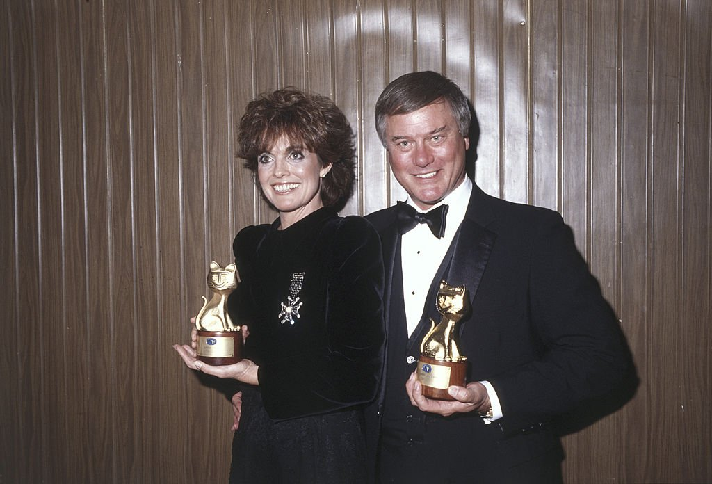 Image Credit: Getty Images / American actors Linda Gray and Larry Hagman, performers of the TV series Dallas, showing smiling the Telegatto awards.