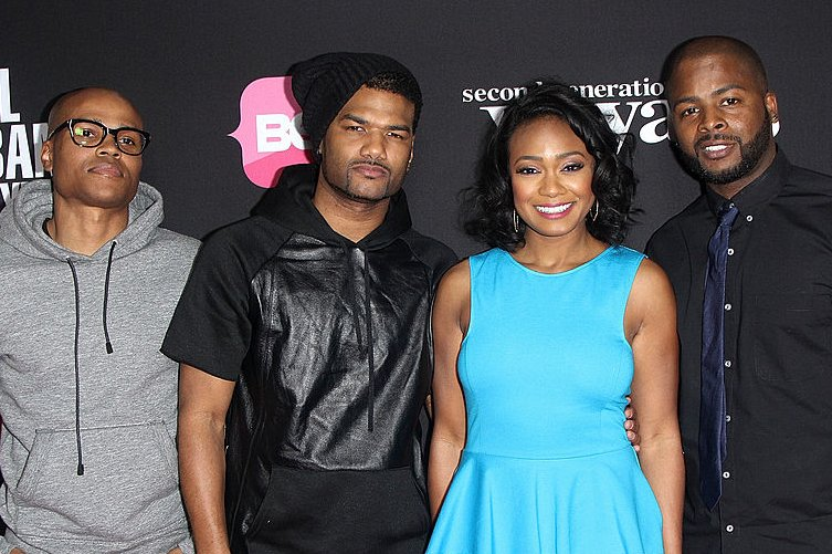 "Image Credits: Getty Images / Maury Phillips / WireImage | George O. Gore, Damien Dante Wayans, Tatyana Ali and Graig Wayans attend BET Networks premiere screenings of ""Real Husbands of Hollywood"" and ""Second Generation Wayans"" at Regal Cinemas L.A. Live on January 8, 2013 in Los Angeles, California."
