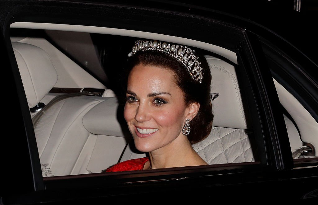 Image Credit: Getty Images / Catherine, Duchess of Cambridge departs after attending the annual Diplomatic Reception at Buckingham Palace on December 8, 2016 in London, England.