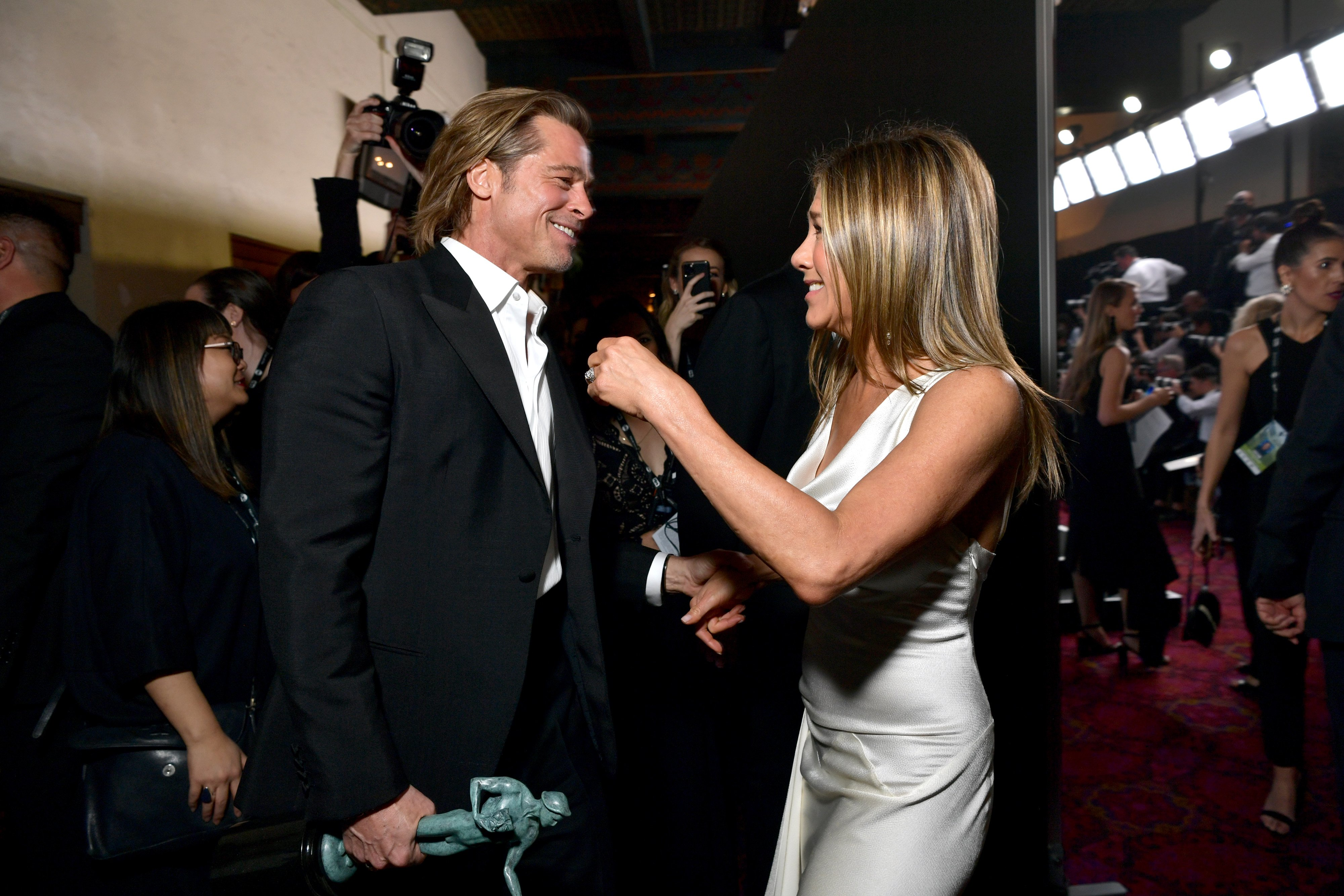 Image Credits: Getty Images / Emma McIntyre | Brad Pitt and Jennifer Aniston attend the 26th Annual Screen Actors Guild Awards at The Shrine Auditorium on January 19, 2020 in Los Angeles, California.