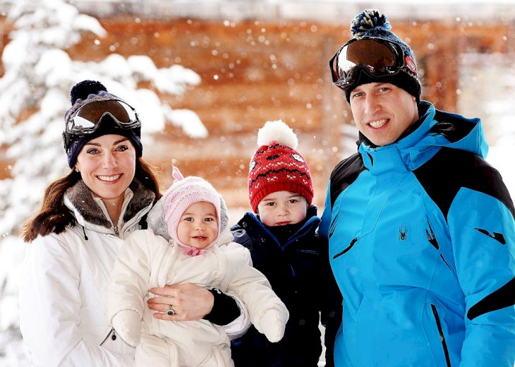 Image Credit: Getty Images / Catherine, Duchess of Cambridge and Prince William, Duke of Cambridge, with their children, Princess Charlotte and Prince George, enjoy a short private skiing break on March 3, 2016.