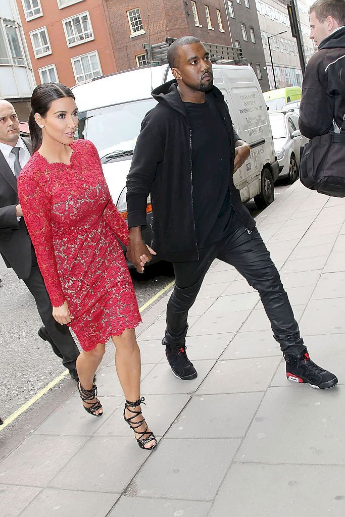 Image Credit: Getty Images / Kanye West and Kim Kardashian are photographed leaving a function.