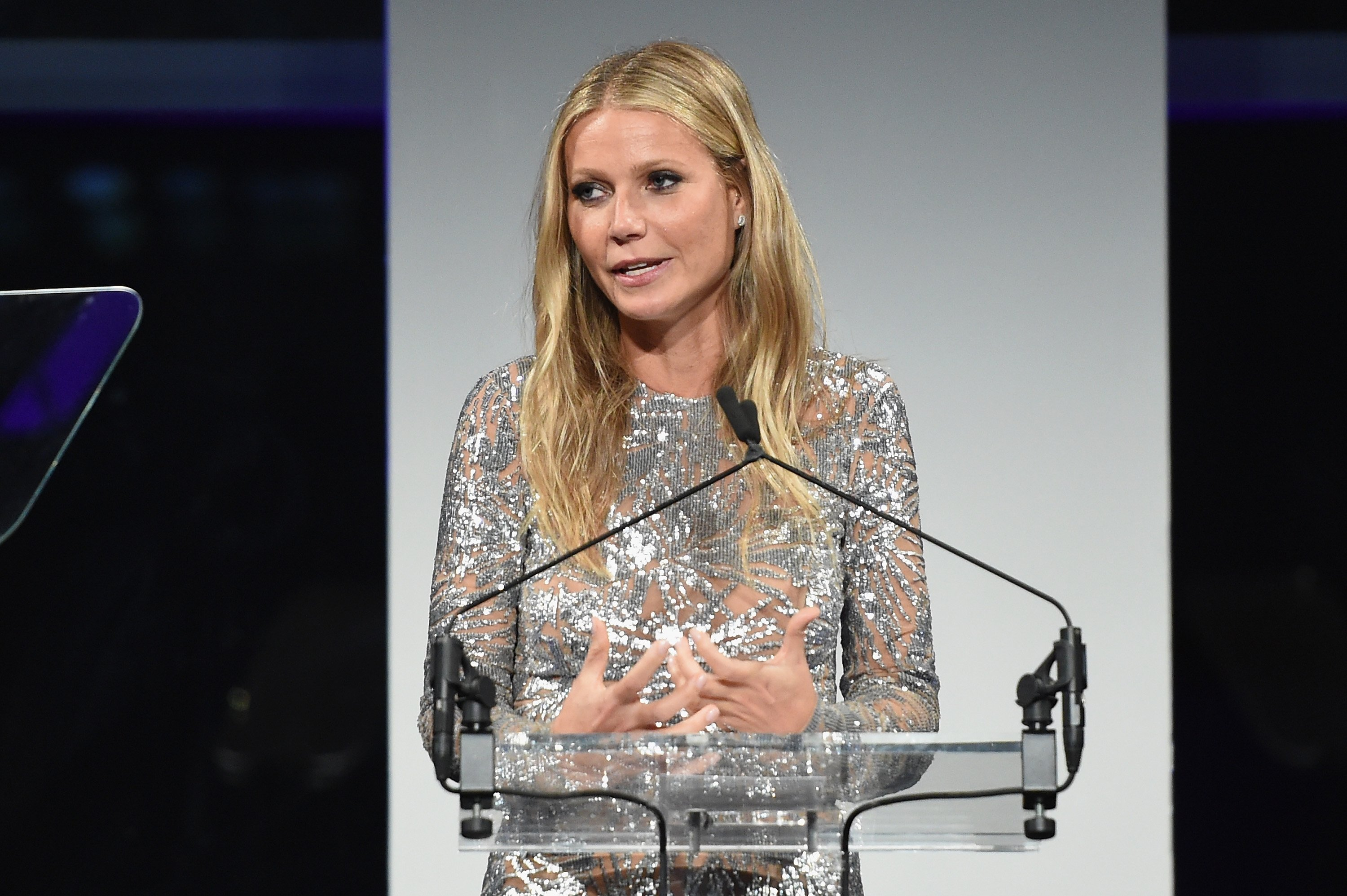 Image Credits: Getty Images / Jamie McCarthy | Gwyneth Paltrow speaks onstage during the 11th Annual Golden Heart Awards benefiting God's Love We Deliver on October 16, 2017 in New York City.