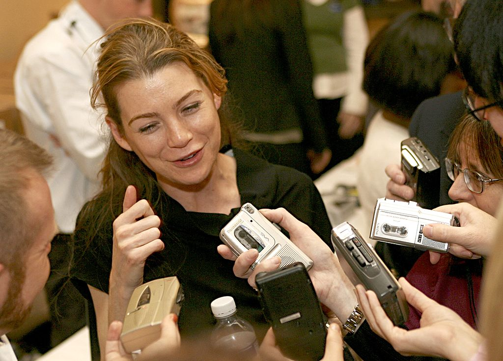 Image Credit: Getty Images/Frederick M. Brown | Ellen Pompeo answering questions for the press while promoting Grey's Anatomy