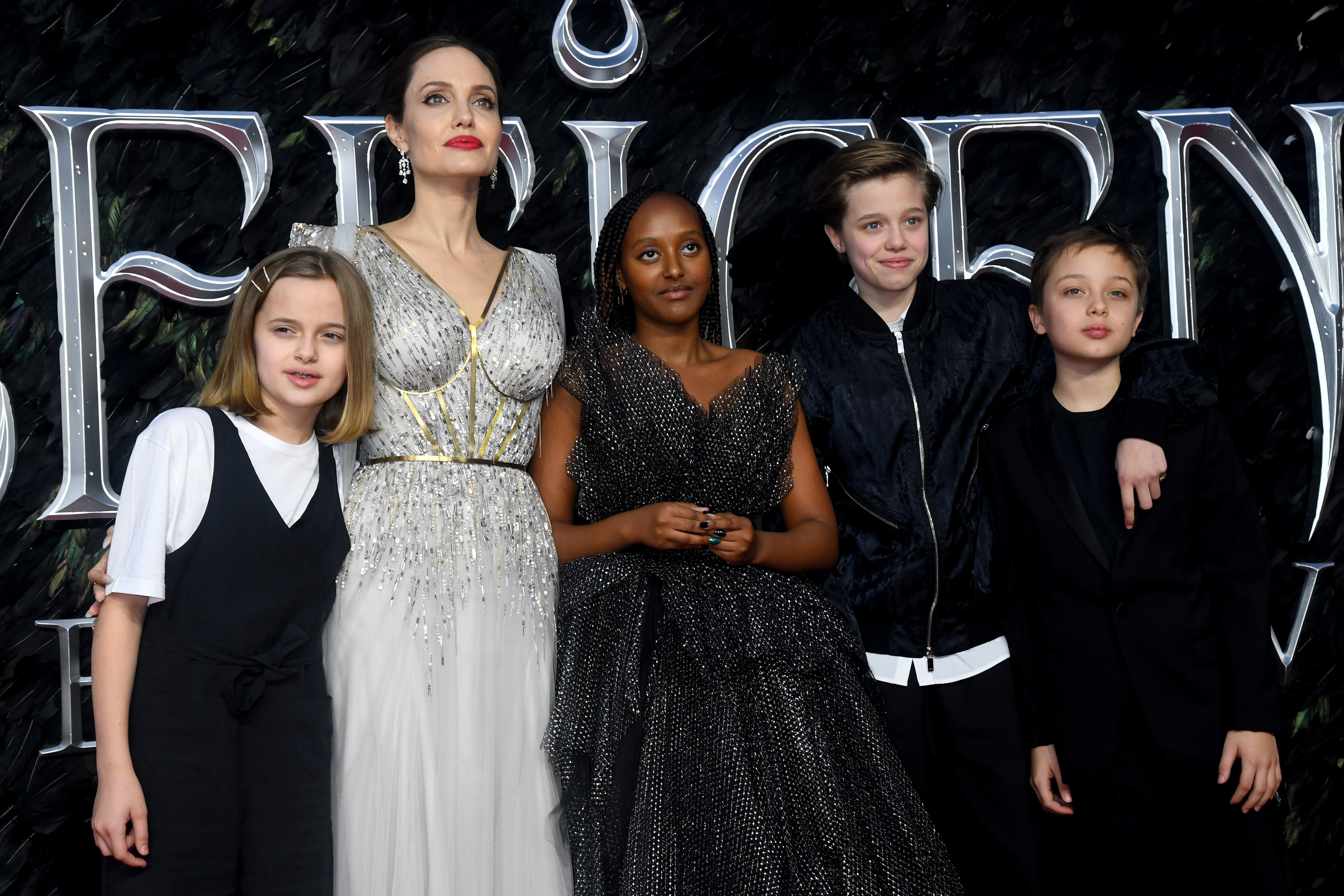 Image Credit: Getty Images/Dave J Hogan | Jolie with her children at the Maleficent: Mistress of Evil European Premier