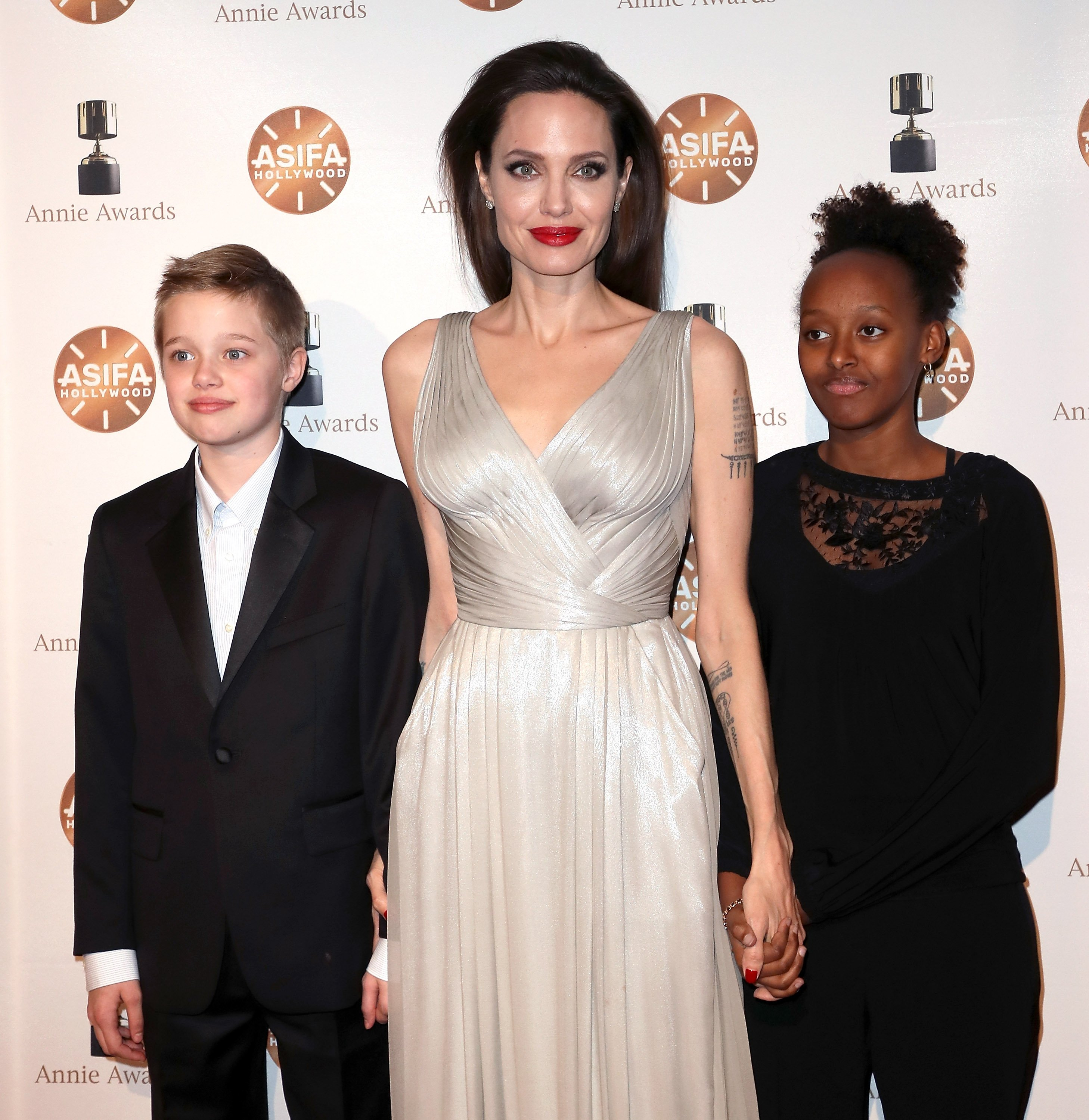 Image Source: Getty Images/Angelina with her children at the Annie Awards