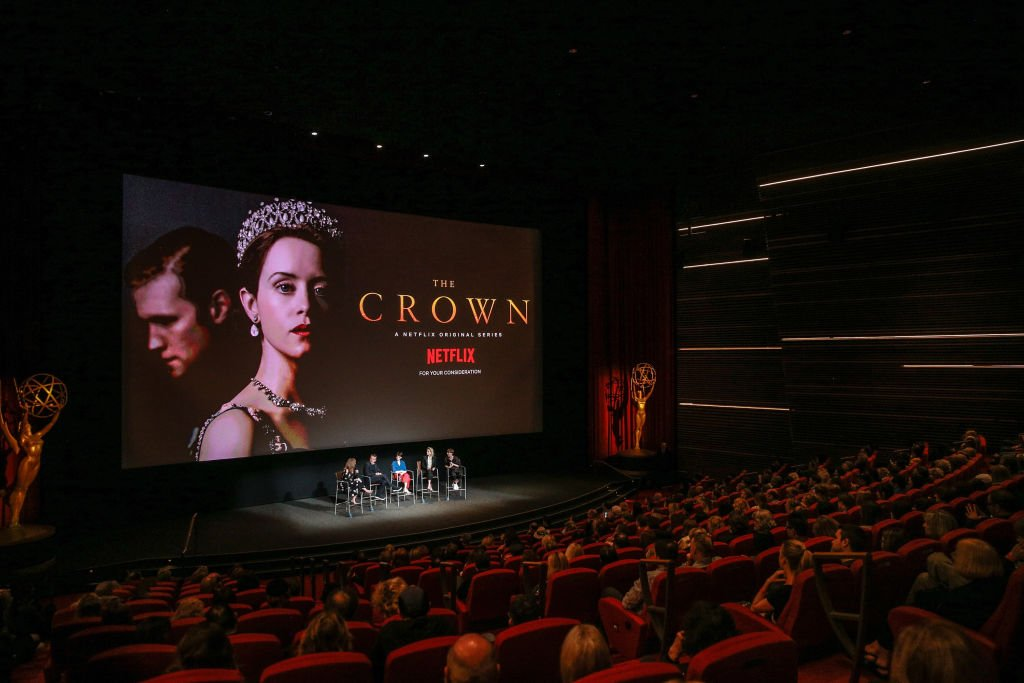 "Image Credits: Getty Images / Rich Fury | Krista Smith, Peter Morgan, Claire Foy, Vanessa Kirby and Jane Petrie speak onstage during the For Your Consideration event for Netflix's ""The Crown"" at Saban Media Center on April 27, 2018 in North Hollywood, California."