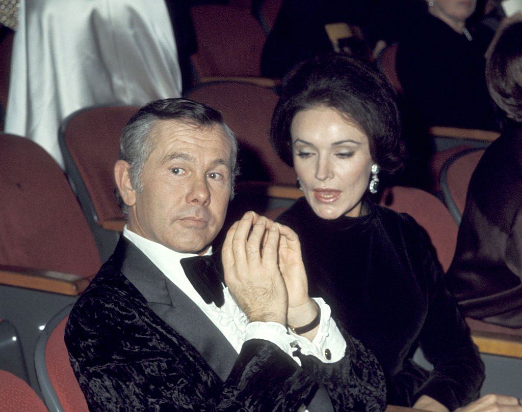 Image Credits: Getty Images / Ron Galella / Ron Galella Collection | Johnny Carson and Joanna Carson.