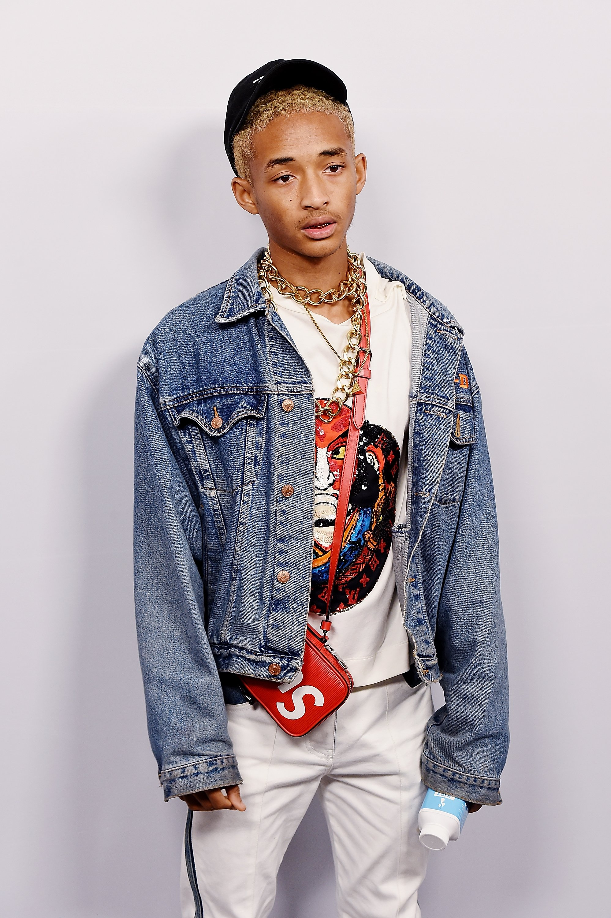 Image Credits: Getty Images / Nicholas Hunt | Jaden Smith attends the Volez, Voguez, Voyagez - Louis Vuitton Exhibition Opening on October 26, 2017 in New York City.