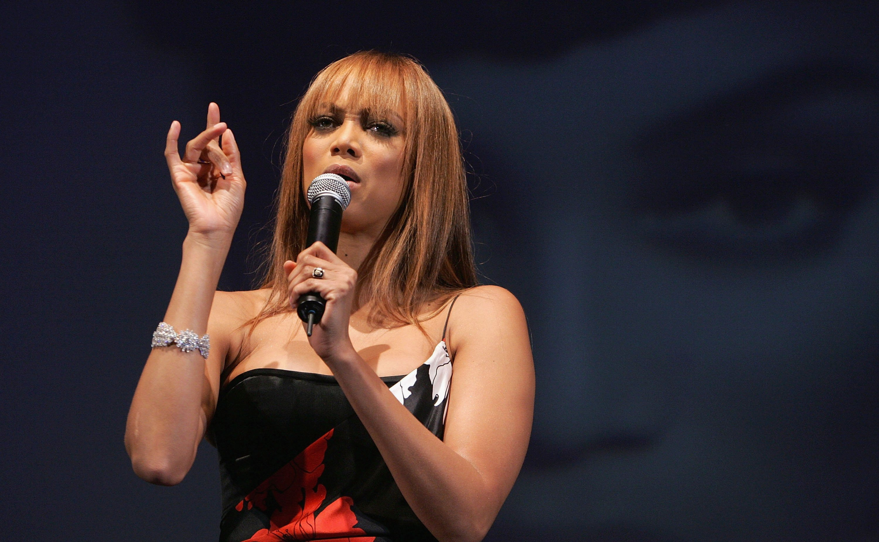 Image Credit: Getty Images / Model Tyra Banks on stage at America's Next Top Model Cycle 5 Finale Event after party held at the The Avalon on December 7, 2005 in Los Angeles.