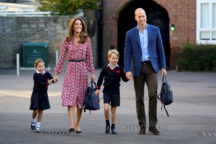 Image Credit: Getty Images / Princess Charlotte arrives for her first day of school, with her brother Prince George and her parents the Duke and Duchess of Cambridge, at Thomas's Battersea.