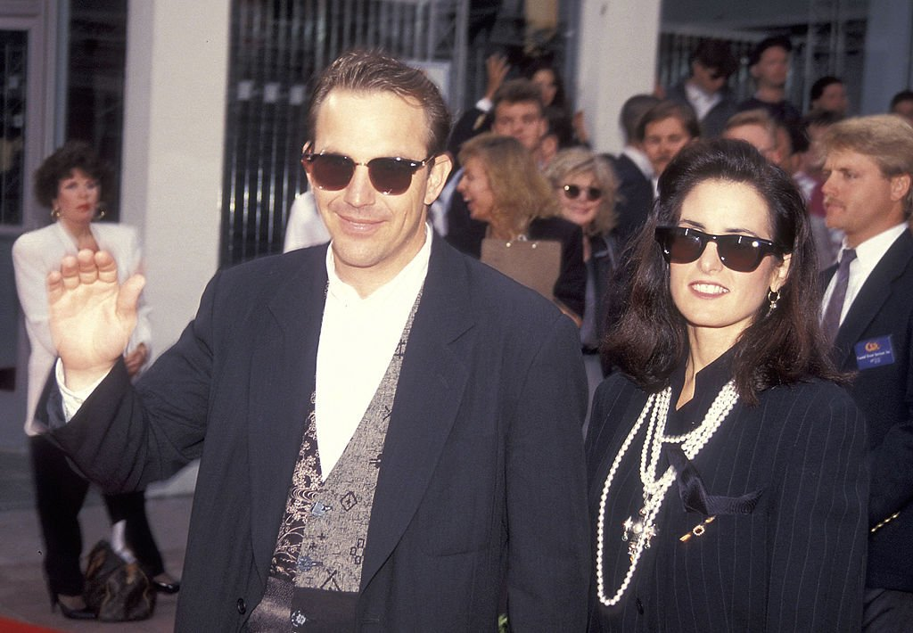 """Image Credit: Getty Images / Actor Kevin Costner and wife Cindy Costner attend the """"Robin Hood: Prince of Thieves"""" Westwood Premiere on June 10, 1991."""
