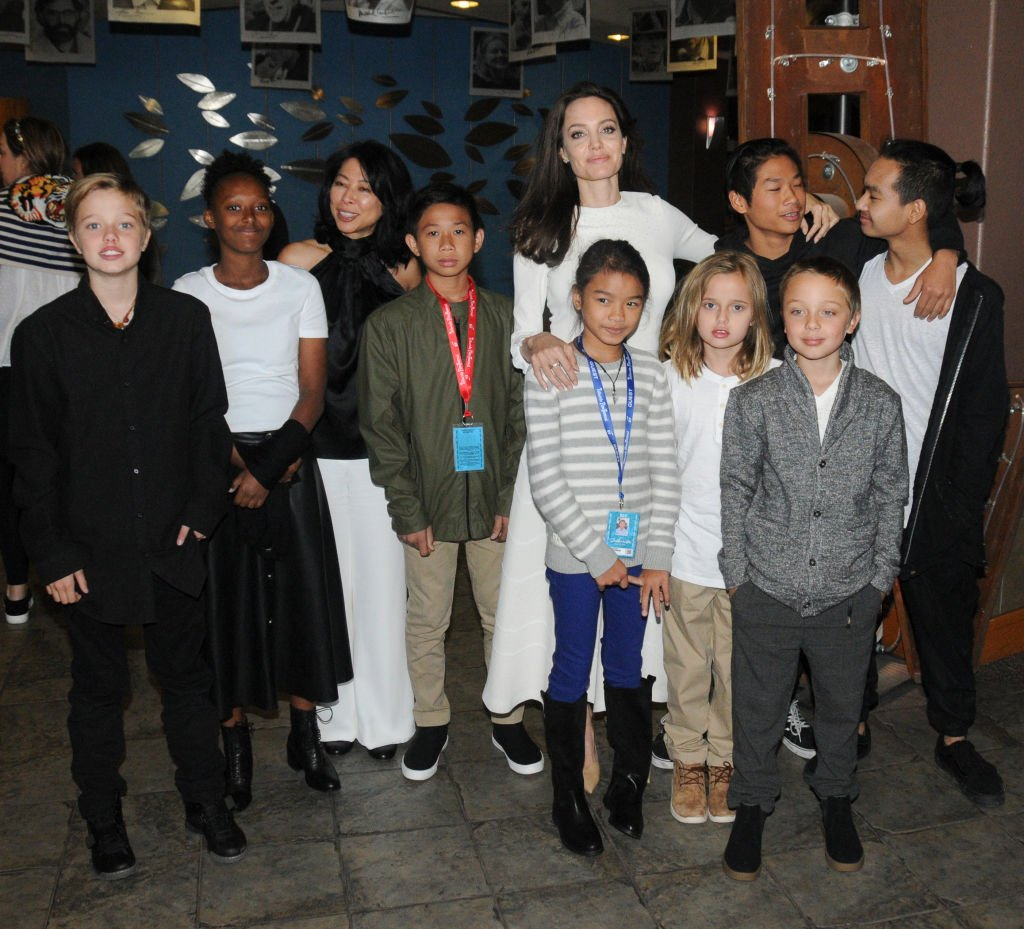 Image Credit: Getty Images/Paul Best   Jolie and her brood at the Telluride Film Festival 2017