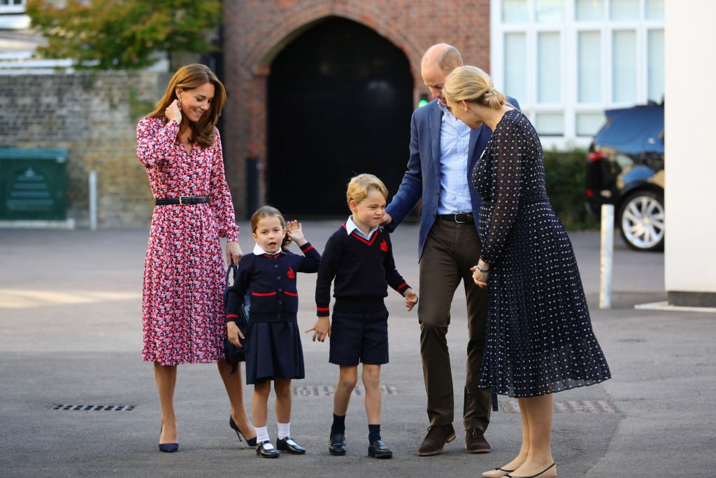 Image Credit: Getty Images / Princess Charlotte arrives for her first day of school, with her brother Prince George and her parents the Duke and Duchess of Cambridge, at Thomas's Battersea in London on September 5, 2019 in London, England.