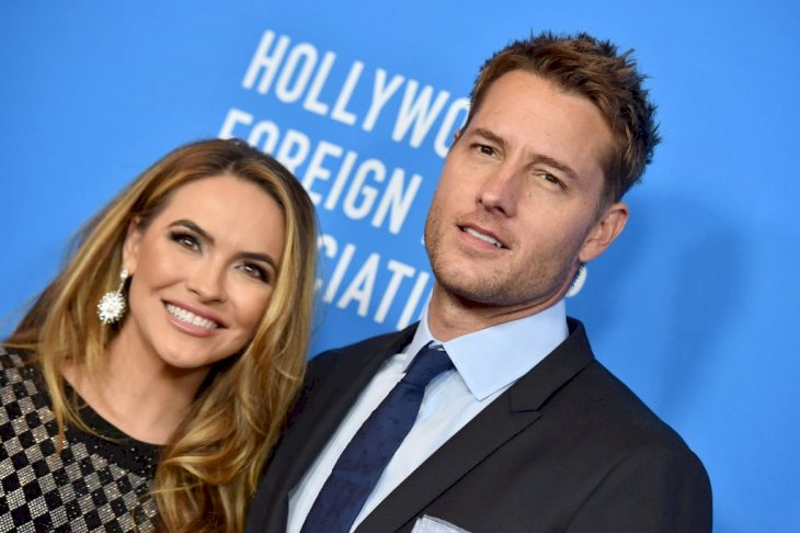 Image Credit: Getty Images / Actors, Chrishell Stause and Justin Hartley arrive at an event.