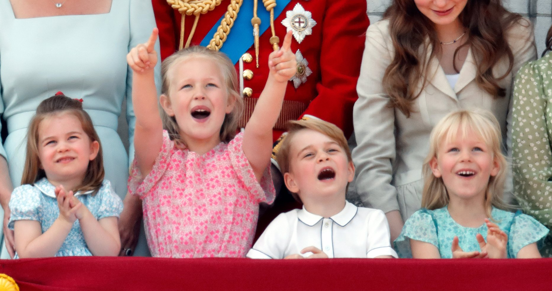 Image Credit: Getty Images / Princess Charlotte, Savannah Phillips, Prince George and Isla Phillips during Trooping The Colour 2018 on June 9, 2018 in London, England.