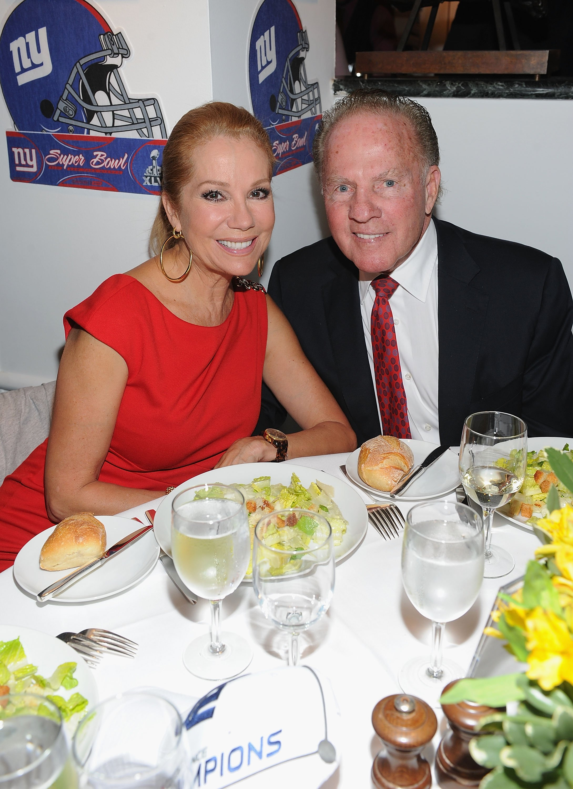 Image Credits: Getty Images / Dimitrios Kambouris | Kathy Lee Gifford and Frank Gifford attend the New York Giants Super Bowl Pep Rally Luncheon at Michael's on February 1, 2012 in New York City.