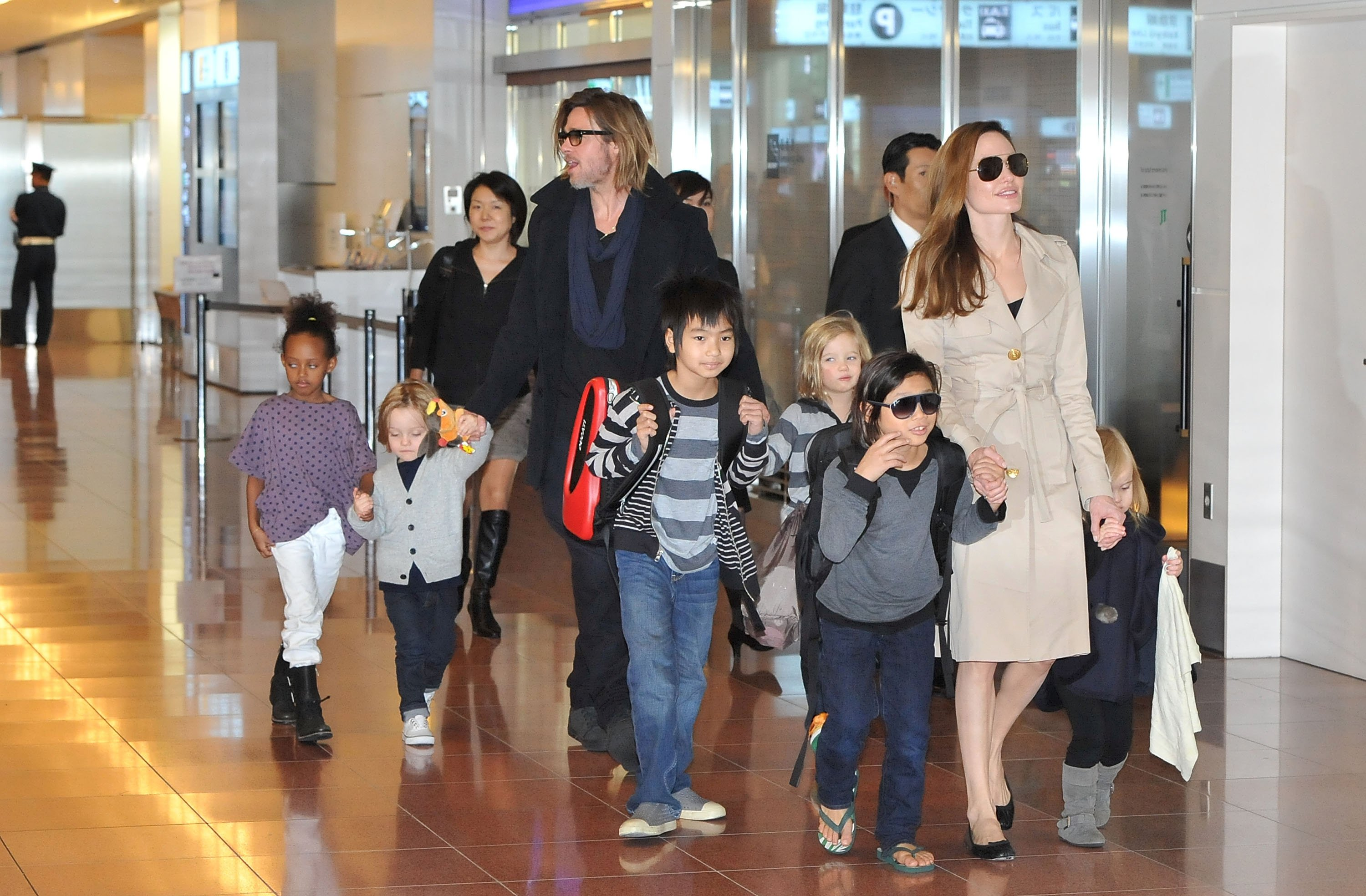 Image Credit: Getty Images/WireImage/Jun Sato | Angelina and Brad with all their kids in Tokyo