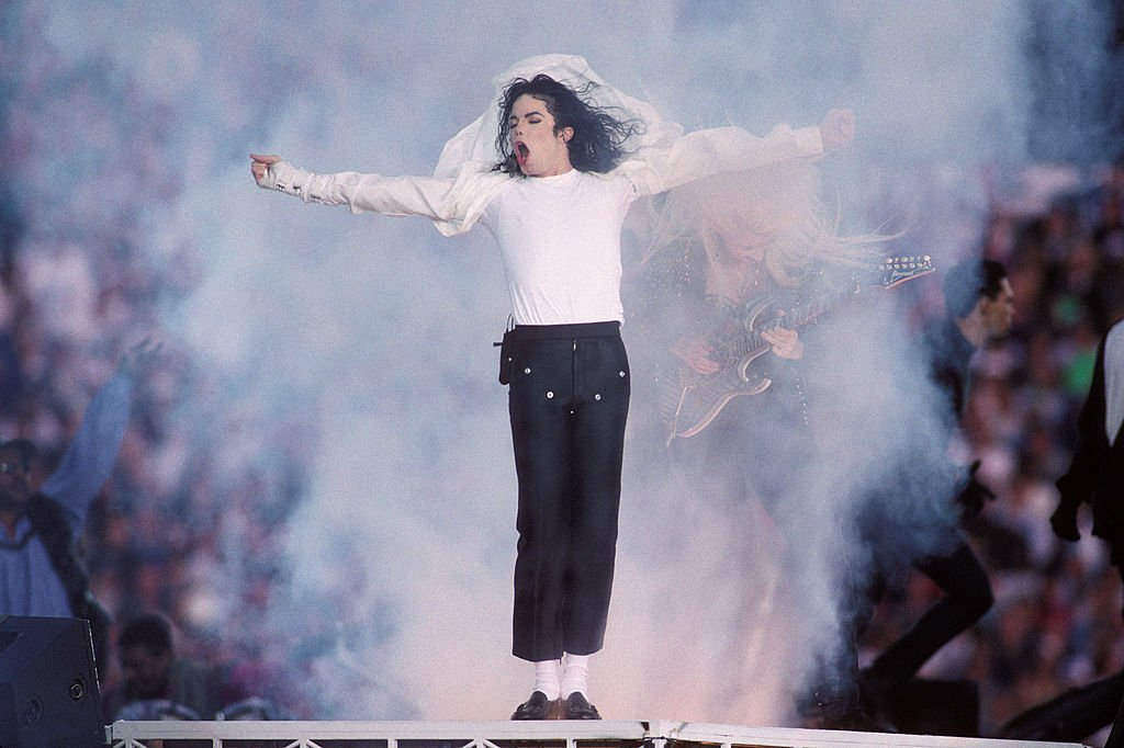 Michael Jackson performs at the Super Bowl XXVII Halftime show at the Rose Bowl on January 31, 1993 in Pasadena, California.