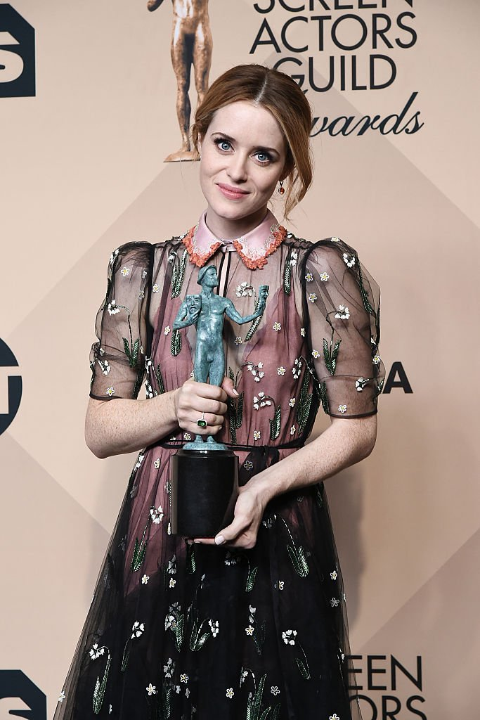 Image Credits: Getty Images / David Crotty / Patrick McMullan | Actor Claire Foy winner of the Outstanding Performance by a Female Actor in a Drama Series for 'The Crown' poses in the press room at the 23rd Annual Screen Actors Guild Awards at The Shrine Expo Hall on January 29, 2017 in Los Angeles, California.