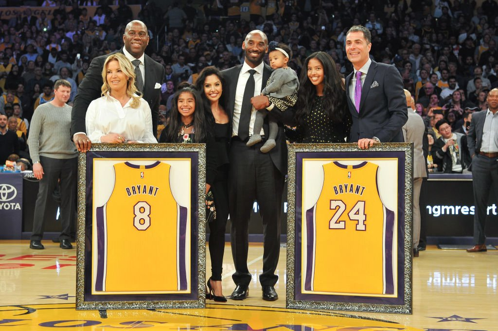 Image Source: Getty Images/Allen Berezovsky/Magic Johnson, Jeanie Buss, Kobe Bryant, wife Vanessa Bryant and daughters Gianna Maria Onore Bryant, Natalia Diamante Bryant, Bianka Bella Bryant