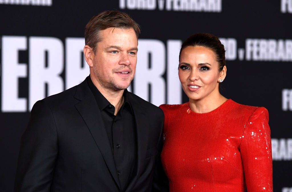 Image Source: Getty Images/Frazer Harrison | Matt Damon and his wife at the Ford v Ferrari premier