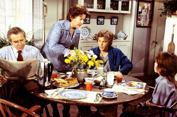 Image Credits: Getty Images / Walt Disney Television | Buddy (Kristy McNichol) was upset that Willie's (Gary Frank) romance interfered with helping her overcome the fear of diving. James Broderick (Doug) and Sada Thompson (Kate) also starred.