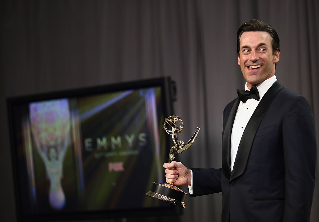 Image Credits: Getty Images / Mark Davis   Actor Jon Hamm, winner of the award for Outstanding Lead Actor in a Drama Series for 'Mad Men', poses in the press room at the 67th Annual Primetime Emmy Awards at Microsoft Theater on September 20, 2015 in Los Angeles, California.