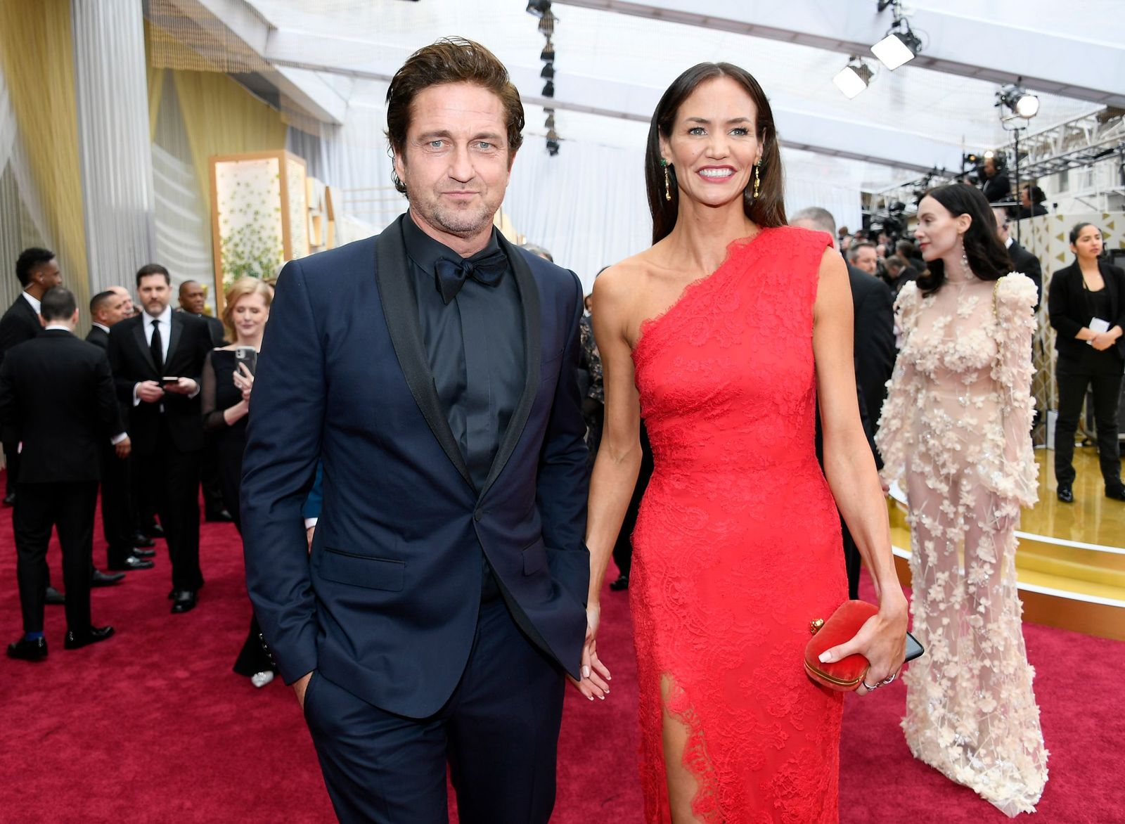 Gerard Butler and Morgan Brown attends the 92nd Annual Academy Awards at Hollywood and Highland on February 09, 2020 in Hollywood, California. (Photo by Kevork Djansezian/Getty Images)