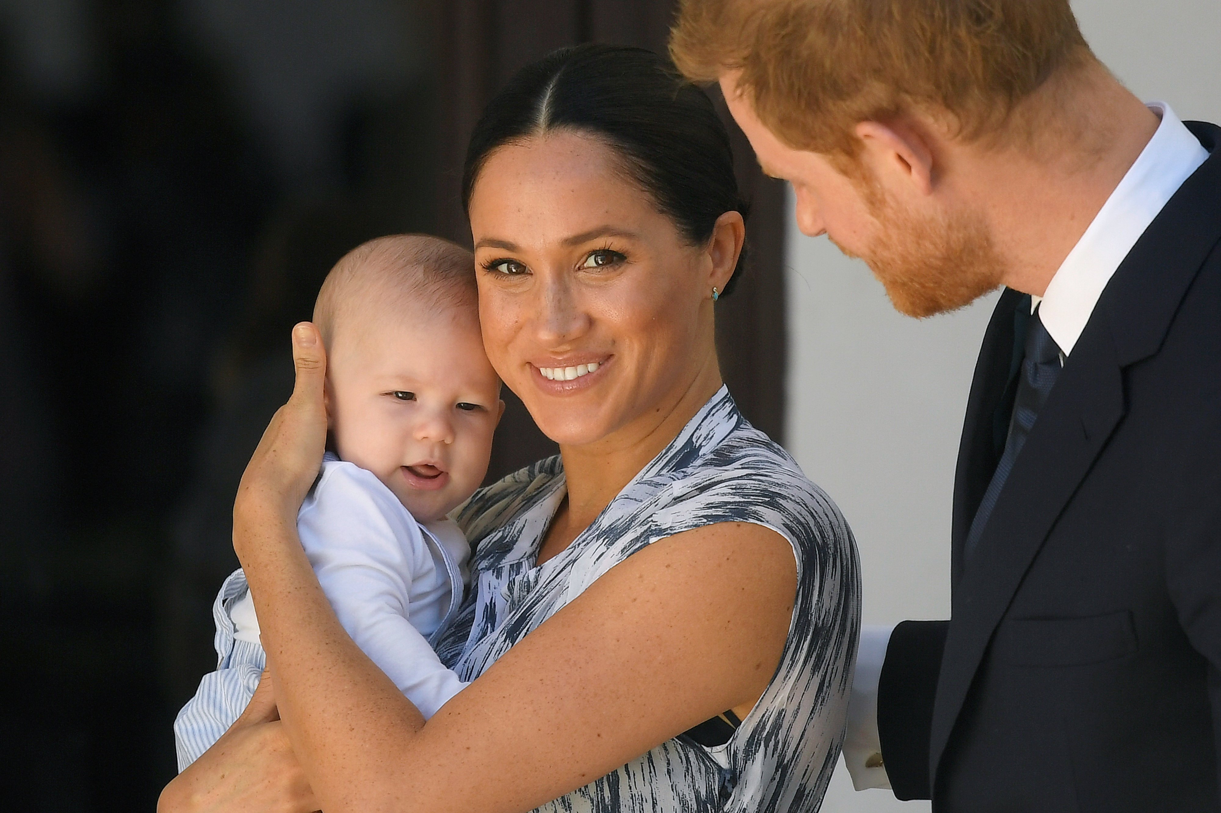 Image Credits: Getty Images / Toby Melville - Pool   Prince Harry, Duke of Sussex and Meghan, Duchess of Sussex and their baby son Archie Mountbatten-Windsor at a meeting with Archbishop Desmond Tutu at the Desmond & Leah Tutu Legacy Foundation during their royal tour of South Africa on September 25, 2019 in Cape Town, South Africa.