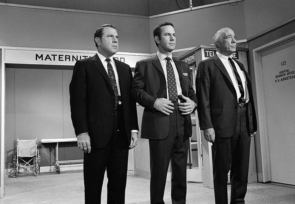 Image Credit: Getty Images/CBS Photo Archive |  Robert Karvelas, Don Adams and Edward Platt appear in a scene from an episode of the the situation comedy 'Get Smart'