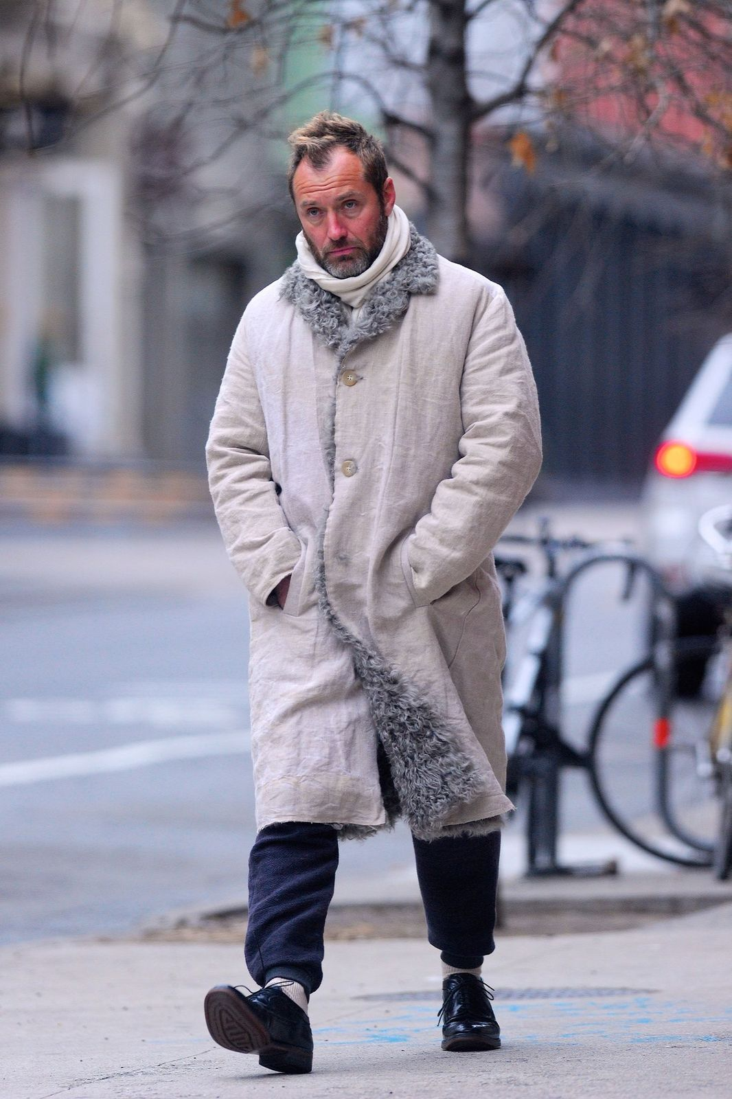 Jude Law seen out and about in Manhattan on January 31, 2020 in New York City. (Photo by Robert Kamau/GC Images)