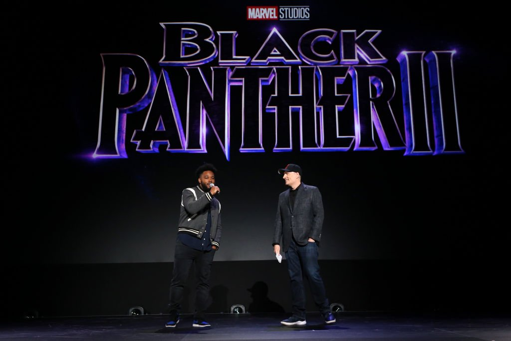 Image Credits: Getty Images / Jesse Grant | (L-R) Ryan Coogler of 'Black Panther 2' and President of Marvel Studios Kevin Feige took part today in the Walt Disney Studios presentation at Disney's D23 EXPO 2019 in Anaheim, Calif. 'Black Panther 2' will be released in U.S. theaters on May 6, 2020.